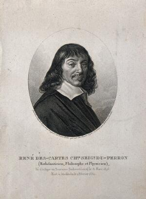 view René Descartes. Stipple engraving by A. Tardieu after F. Hals, 1649.