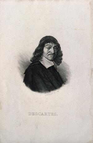 view René Descartes. Line engraving by L. F. Butavand, 1835, after F. Hals, 1649.