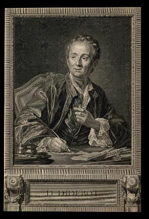 view Denis Diderot. Line engraving by B. L. Henriquez after L. M. Vanloo.