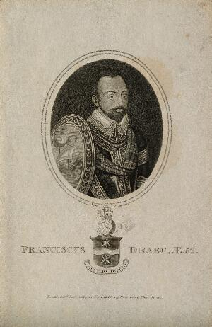 view Sir Francis Drake. Stipple engraving by R. Page, 1813.