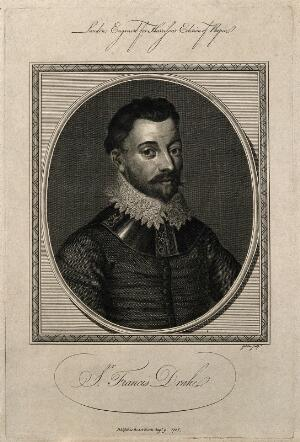view Sir Francis Drake. Line engraving by J. Goldar, 1786.