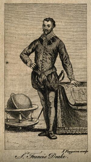 view Sir Francis Drake. Line engraving by J. Fougeron.