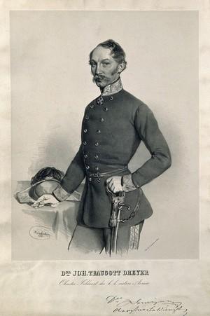 view Johann Traugott Dreyer. Lithograph by J. Kriehuber, 1854.