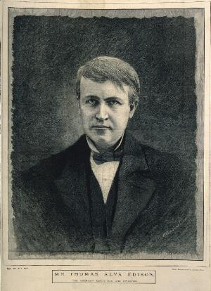 view Thomas Alva Edison. Wood engraving by M. K. L. Wright after V. Daireaux.