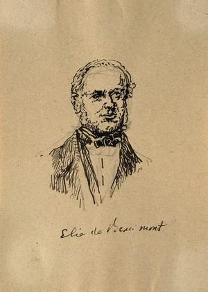 view Jean-Baptiste-Armand-Louis-Léonce Elie de Beaumont. Pen drawing.