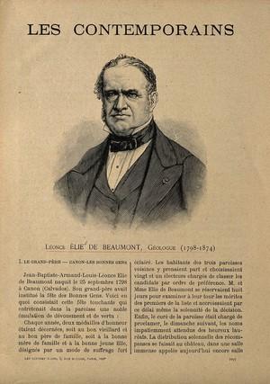 view Jean-Baptiste-Armand-Louis-Léonce Elie de Beaumont. Wood engraving.