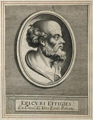 view Epicurus. Line engraving.