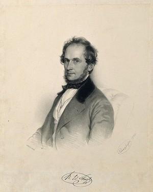 view Eduard Fenzl. Lithograph by A. Prinzhofer, 1849.
