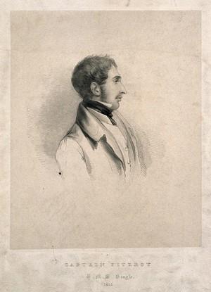 view Robert Fitzroy. Lithograph, 1835.