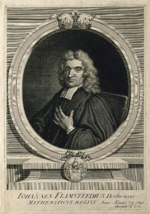 view John Flamsteed. Line engraving by G. Vertue, 1721, after T. Gibson, 1712.