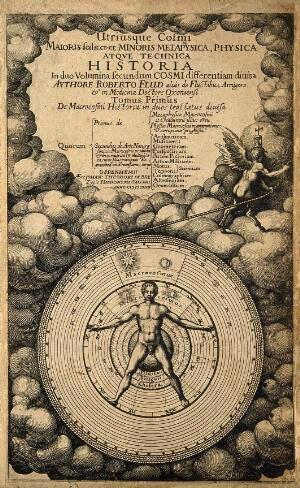 view The microcosm (man) and the macrocosm (the world). Line engraving by T. de Bry, 1617.