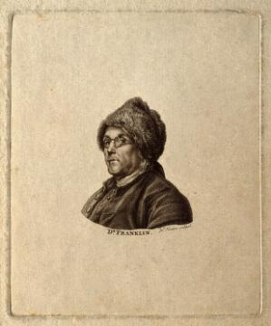 view Benjamin Franklin. Stipple engraving by J. Newton after C. N. Cochin, junior, 1777.