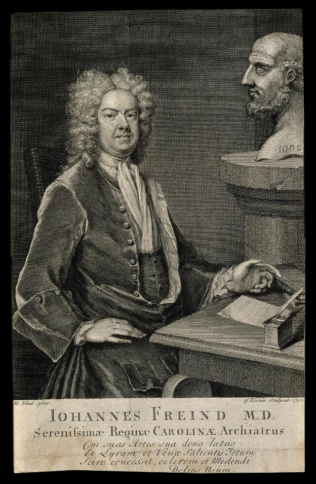 John Freind. Line engraving by G. Vertue, 1730, after M. Dahl, 1725.