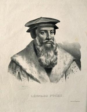 view Leonard Fuchs. Lithograph by P. R. Vignéron.