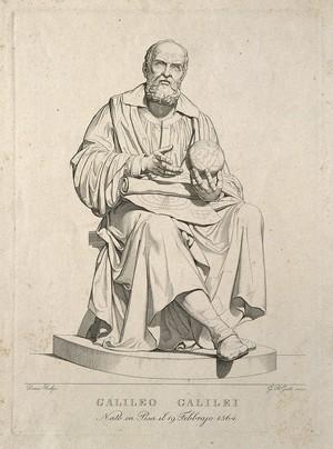 view Galileo Galilei. Line engraving by G. B. Gatti after E. Demi, 1839.
