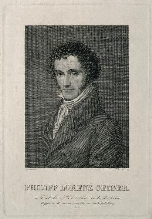view Philipp Lorenz Geiger. Line engraving by F. Rosmaesler after J.W.C. Roux, 1829.