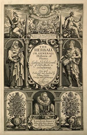 view John Gerard: portrait and botanical motifs. Line engraving by J. Payne, 1633.