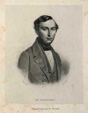 view Jean Giraudeau de St Gervais. Line engraving by J. M. Leroux after P. R. Vignéron.