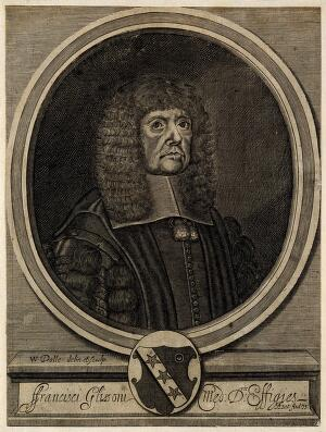 view Francis Glisson. Line engraving by W. Dolle, 1672, after W. Faithorne.