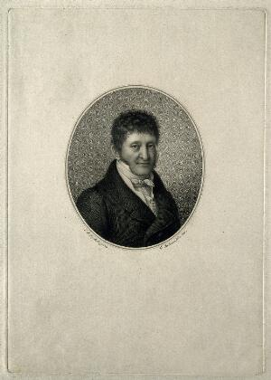 view L. A. Goelis. Stipple engraving by F. Stöber after E. F. Leybold.