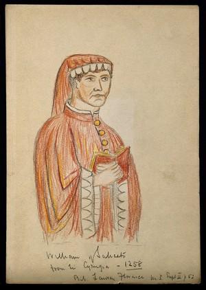 view Guglielmo da Saliceto. Coloured wax crayon drawing.