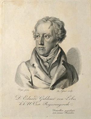 view Eduard Vincenz Guldener von Lobes. Line engraving by J. Eissner after J. Lange.