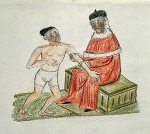view Guy de Chauliac. Coloured wax crayon drawing.