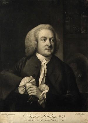 view John Hadley. Mezzotint by E. Fisher after B. Wilson, 1759.