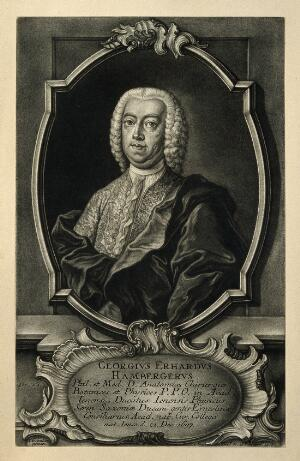 view Georg Erhard Hamberger. Mezzotint by J. J. Haid after J. Günther.