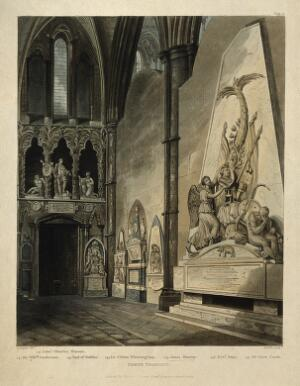 view Monuments to Jonas Hanway and others in Westminster Abbey. Coloured aquatint by J. Hamble, 1812, after A. Pugin.
