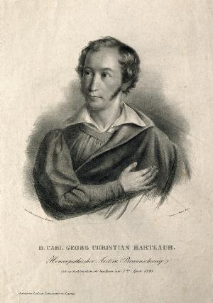 view Carl Georg Christian Hartlaub. Lithograph by G. Schlick.