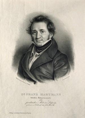 view Franz Hartmann. Lithograph by G. Schlick.
