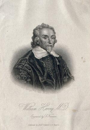 view William Harvey. Stipple engraving by S. Freeman after W. von Bemmel, 1657.