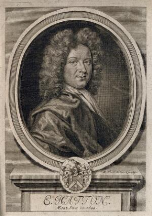 view Edward Hatton. Line engraving by R. White, 1696.