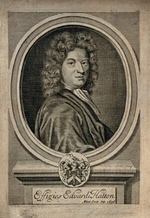 view Edward Hatton. Line engraving by R. White, 1696, after himself.