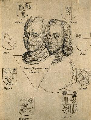 view Jan Baptista van Helmont. Etching by K. de Moor [?], 1652.