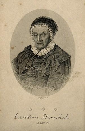 view Caroline Herschel, aged 92. Stipple engraving by J. Brown.