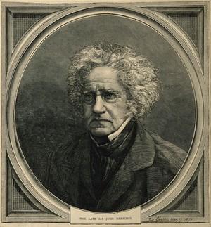 view Sir John Frederick William Herschel. Wood engraving, 1871.