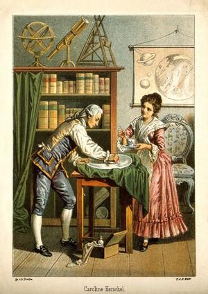 view Sir William Herschel and Caroline Herschel. Colour lithograph by A. Diethe, ca. 1896.