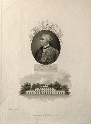 view Sir John Hill. Engraving by G. Vendramini, 1799, after F. Cotes 1757.