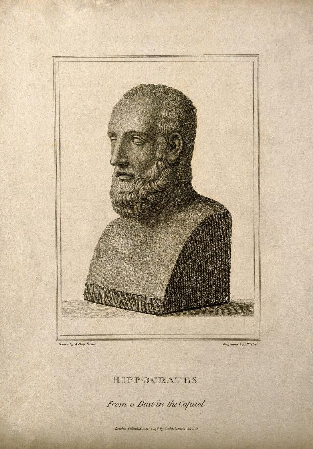 Hippocrates. Stipple engraving by M. Bovi, 1796, after A. Day.