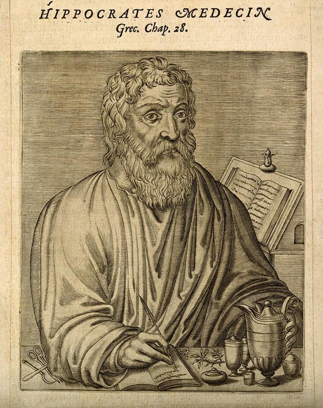 Hippocrates. Line engraving, 1584.