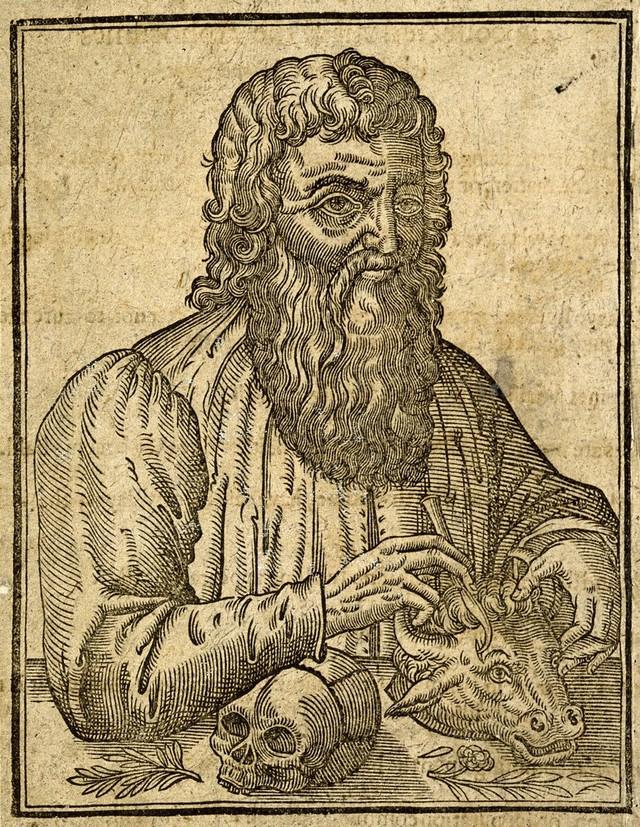Hippocrates. Line engraving.