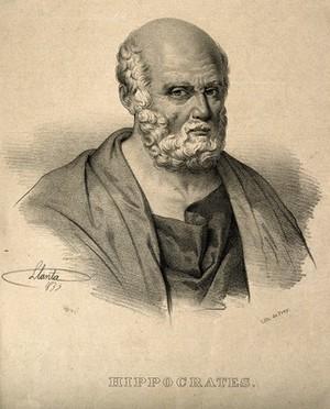 view Hippocrates. Lithograph by J. Llanta, 1835.
