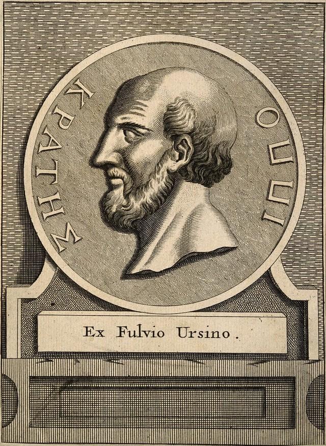 Hippocrates. Line engraving after Fulvius Ursinus, 1570.