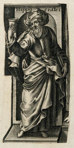 view Hippocrates. Line engraving.