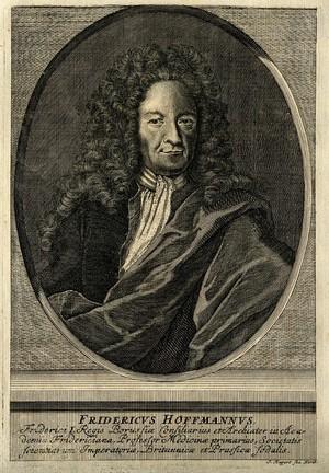 view Friedrich Hoffmann II. Line engraving by J. Rupert.