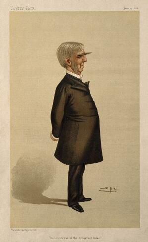 view Oliver Wendell Holmes. Colour lithograph by Sir L. Ward [Spy], 1886.