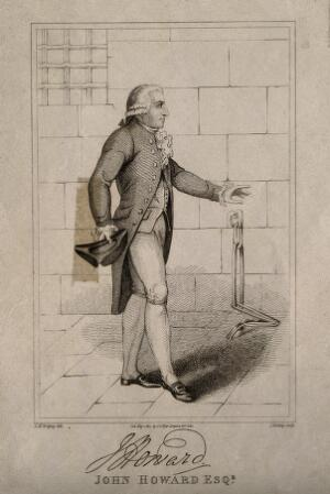 view John Howard, full-length portrait. Line engraving by J. Romney, 1817, after G. M. Brighty.