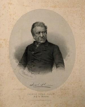 view Joseph Hume. Lithograph by G. B. Black, 1851, after J. E. Mayall.
